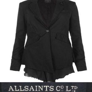 All Saints Spitalfields Black Gauze Blazer Size 8